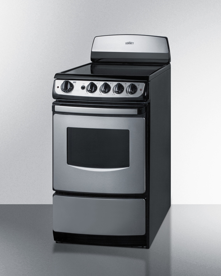 20' wide smooth-top electric range in stainless steel with oven window