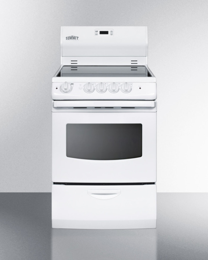 24' wide smoothtop electric range with lower storage drawer, oven window, and digital clock