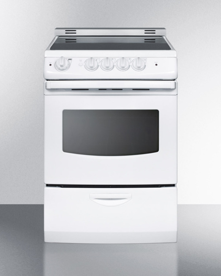 "Summit 24"" wide smoothtop electric range in white, with low 'slide-in' backguard and storage drawer"