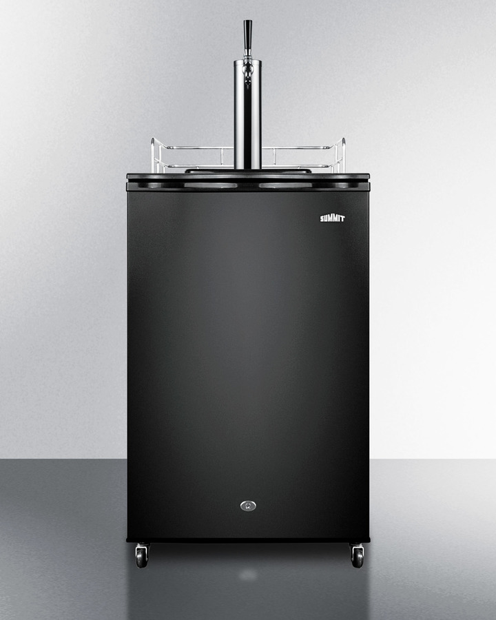 Cold brew flat coffee dispenser in black, with a front lock and stainless steel cold brew tap kit included