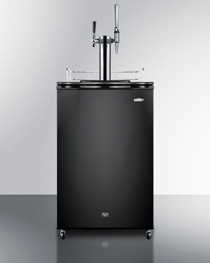 Dual tap coffee dispenser in black, with a front lock combination nitro/flat coffee tap kit