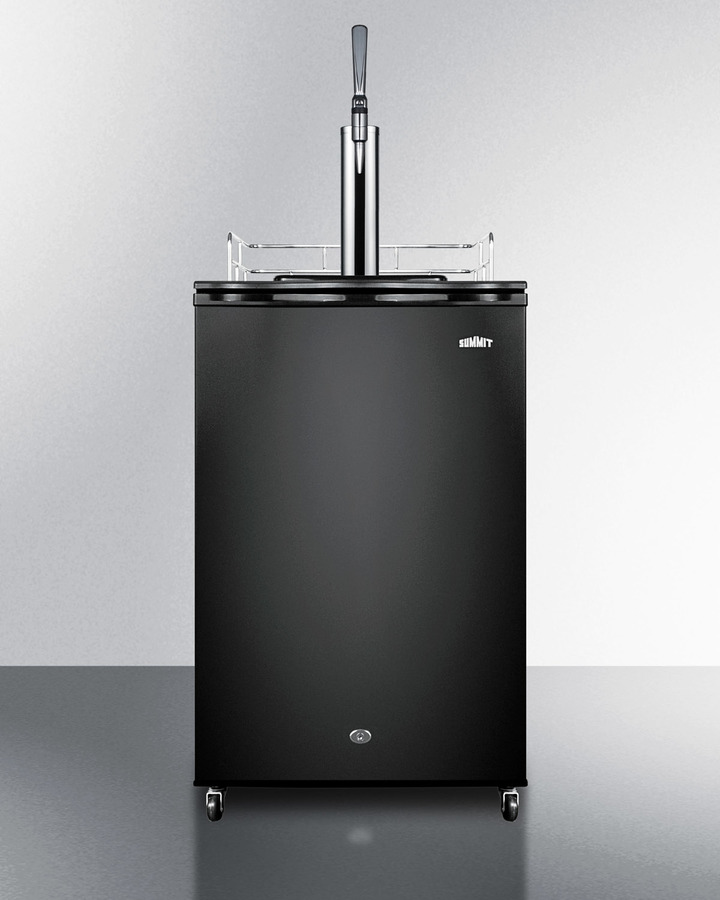 Nitro-infused coffee dispenser in black, with a front lock and stainless steel stout style tap kit included