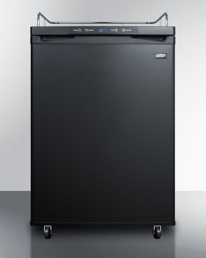 Freestanding commercially listed beer dispenser, auto defrost with digital thermostat and black exterior finish; sold without tap kit