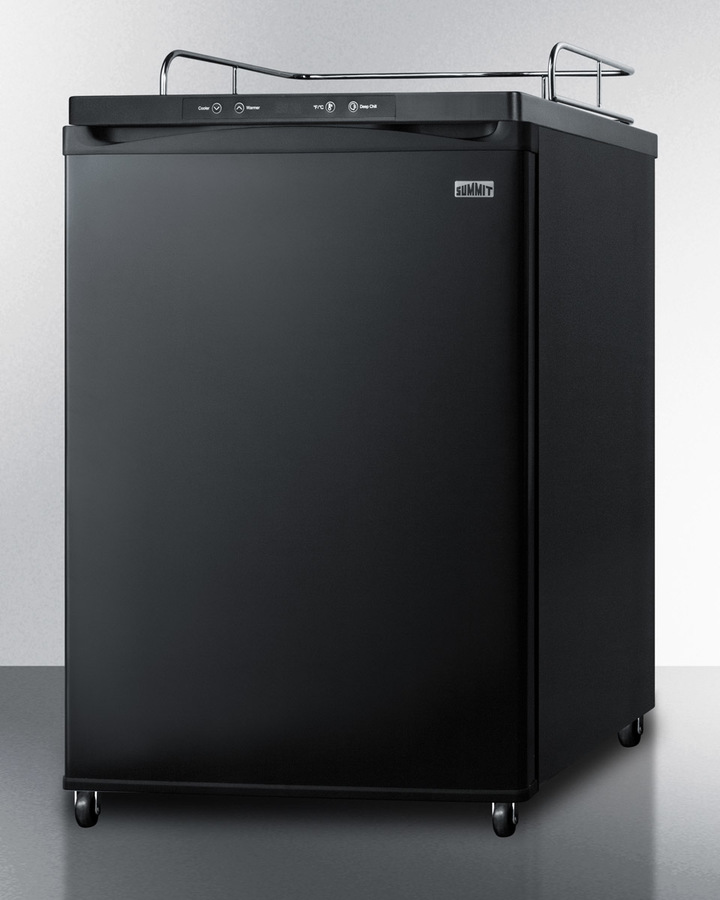 Model: SBC635M7NK | Summit Freestanding commercially listed beer dispenser, auto defrost with digital thermostat and black exterior finish; sold without tap kit