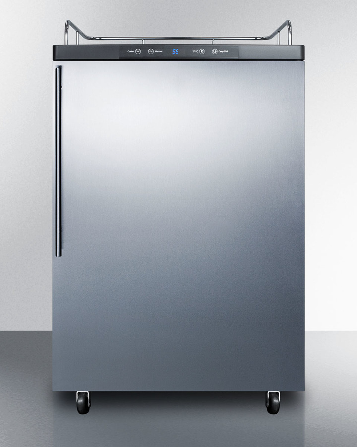 Freestanding commercially listed beer dispenser, auto defrost with digital thermostat, stainless steel door, thin handle, and black cabinet; no tapping equipment included