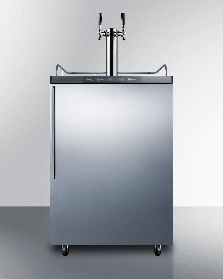 Freestanding commercially listed dual tap beer dispenser, auto defrost with digital thermostat, stainless steel door, thin handle, and black cabinet