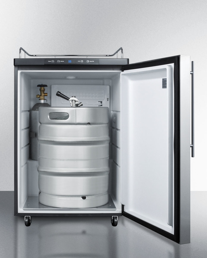Model: SBC635MBI7NKSSHV   Summit Built-in commercially listed beer dispenser, auto defrost with digital thermostat, stainless steel door, thin handle, and black cabinet; no tapping equipment included