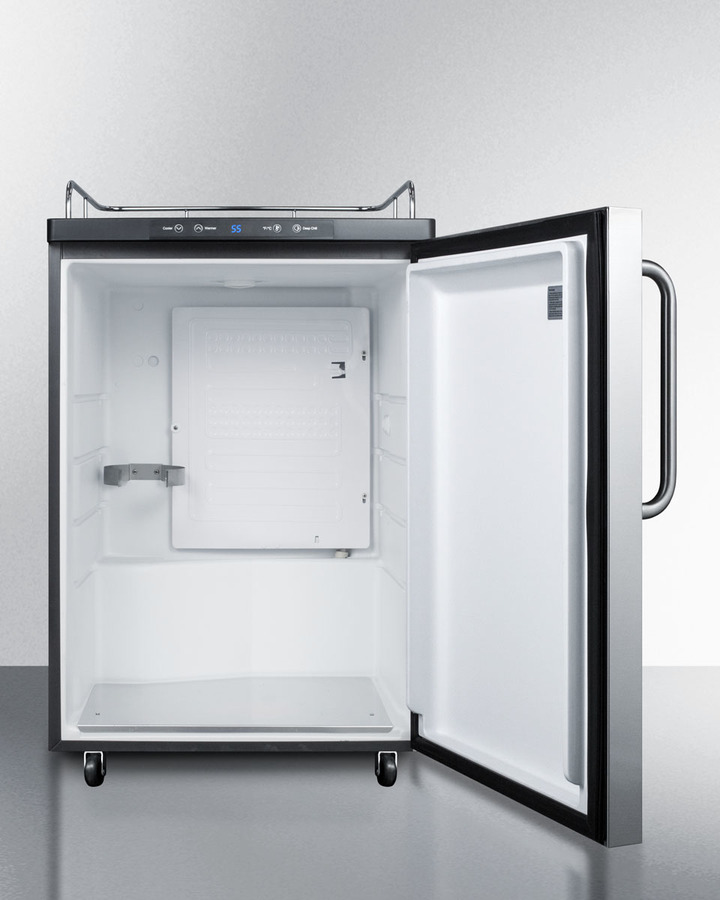 Built-in commercially listed beer dispenser, auto defrost with digital thermostat, stainless steel door, towel bar handle, and black cabinet; no tapping equipment included