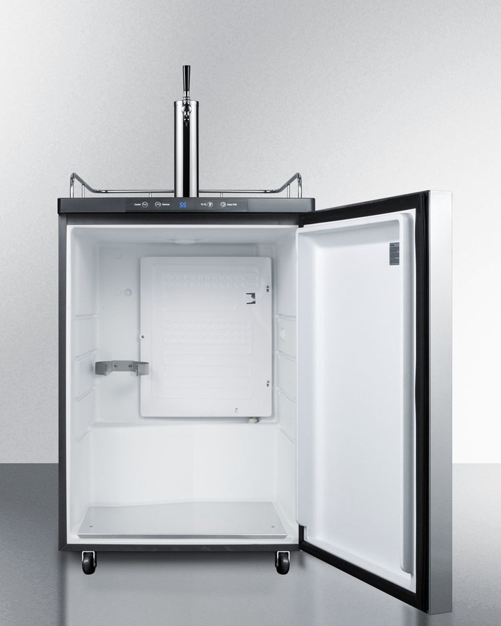 Model: SBC635MBI7SSHH | Summit Built-in commercially listed beer dispenser, auto defrost with digital thermostat, stainless steel door, horizontal handle, and black cabinet
