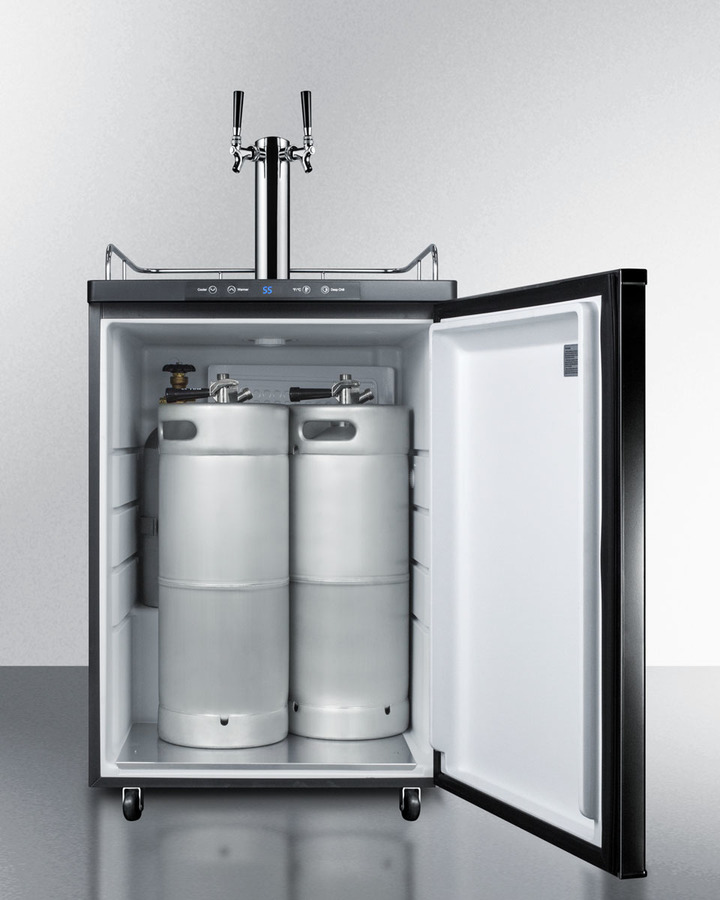 Model: SBC635MBI7TWIN | Summit Built-in commercially listed beer dispenser, auto defrost with digital thermostat, dual tap system, and black exterior finish