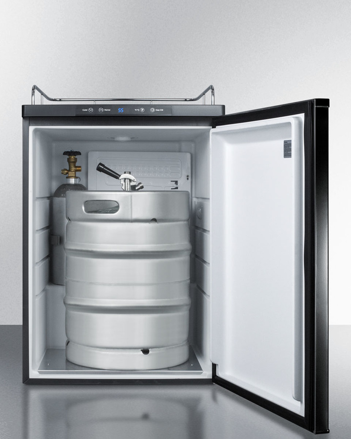 Built-in beer dispenser in black, auto defrost w/digital thermostat; sold without tap kit for do-it-yourselfers who install their own systems