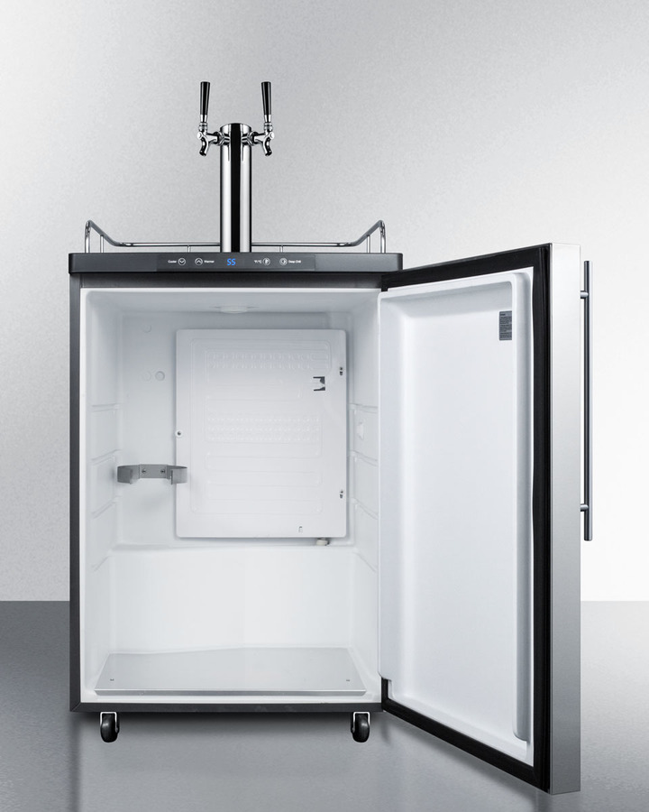 Model: SBC635MBISSHVTWIN | Summit Built-in residential beer dispenser, auto defrost with digital thermostat, dual tap system, stainless steel door, thin handle, and black cabinet