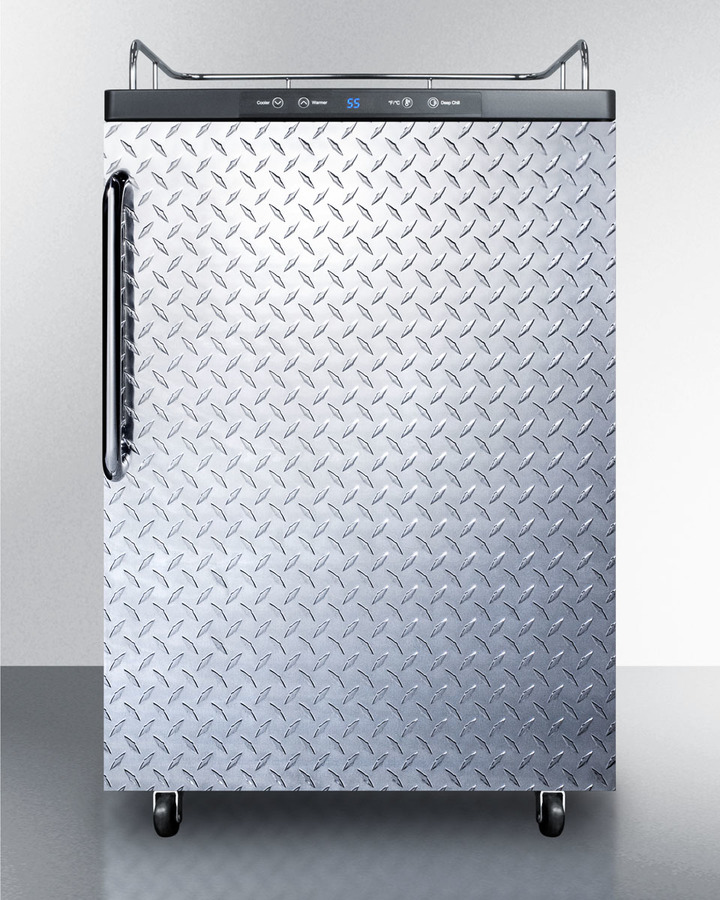 Summit Freestanding residential beer dispenser, auto defrost w/digital thermostat, diamond plate door, TB handle, and black cabinet; no tapping equipment included