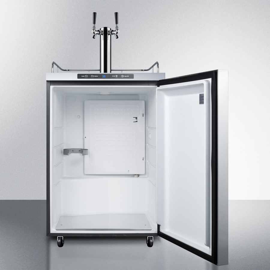 Model: SBC635MOS7HHTWIN | Summit Freestanding commercially listed dual tap outdoor beer dispenser, auto defrost with digital thermostat, stainless steel wrapped exterior, and horizontal handle
