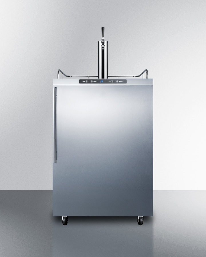 Freestanding commercially listed outdoor beer dispenser, auto defrost with digital thermostat, stainless steel wrapped exterior, and thin handle