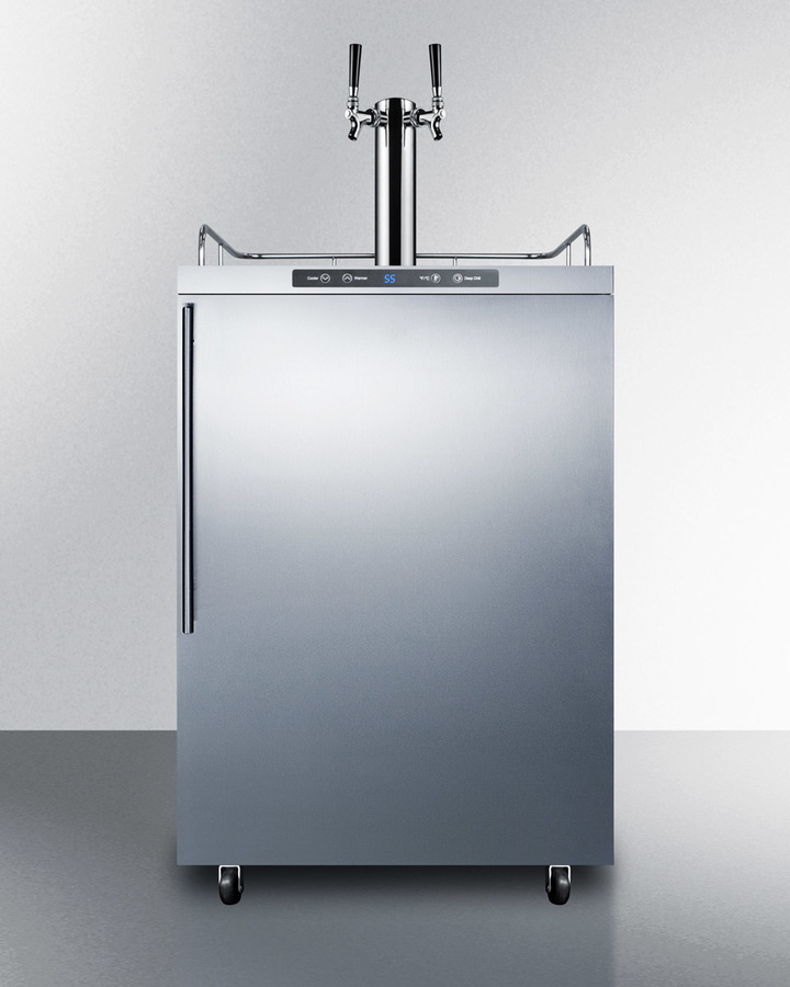Freestanding commercially listed dual tap outdoor beer dispenser, auto defrost with digital thermostat, stainless steel wrapped exterior, and thin handle