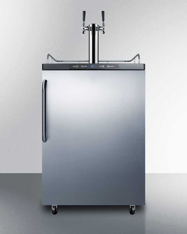 Freestanding dual tap residential beer dispenser, auto defrost w/digital thermostat, SS wrapped door, towel bar handle, and black cabinet