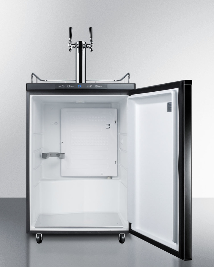 Model: SBC635MTWIN | Summit Freestanding residential beer dispenser, auto defrost with digital thermostat, black exterior finish, and dual tap system