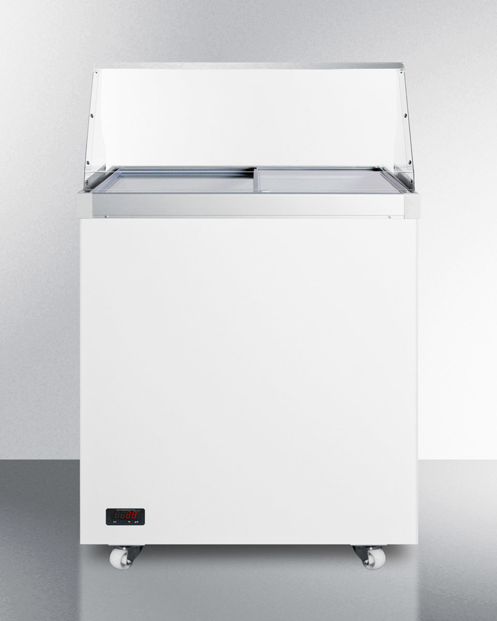 29' wide dipping cabinet with polycarbonate sneezeguard and digital thermostat