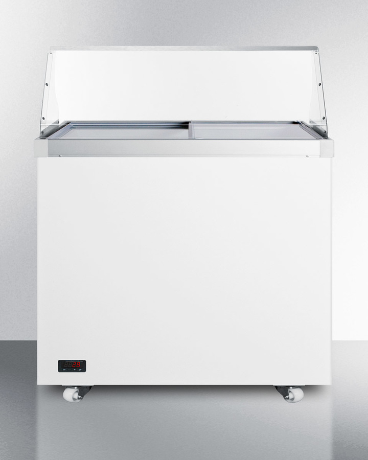 36' wide dipping cabinet with polycarbonate sneezeguard