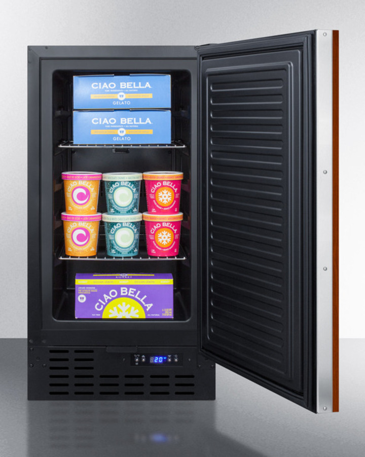 18' wide frost-free freezer in black for built-in or freestanding use, with integrated door frame for overlay panels