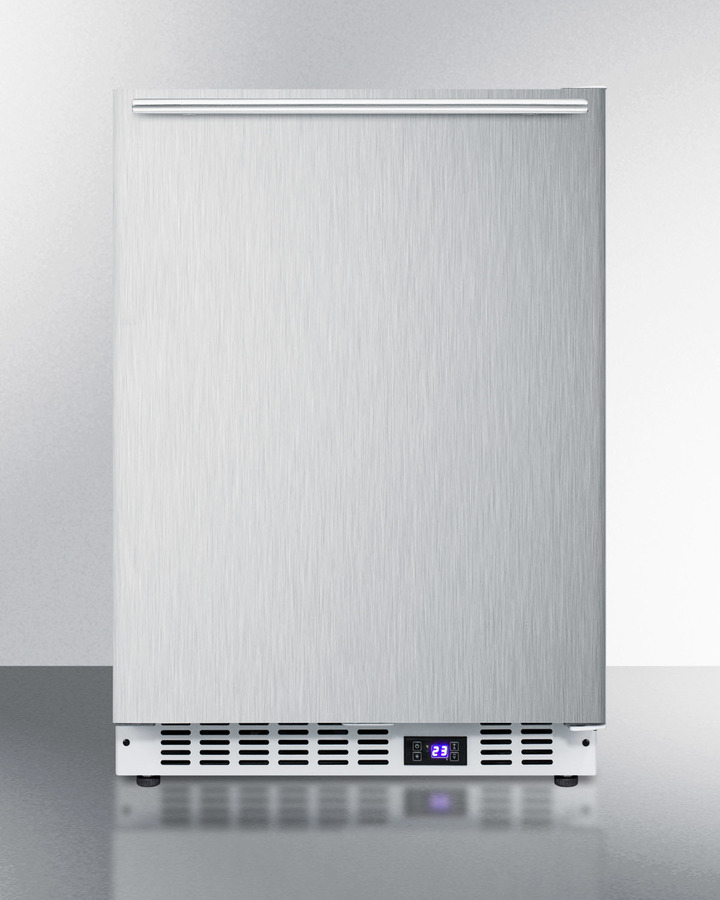 Frost-free built-in undercounter all-freezer for residential or commercial use, with stainless steel door, horizontal handle, and white cabinet