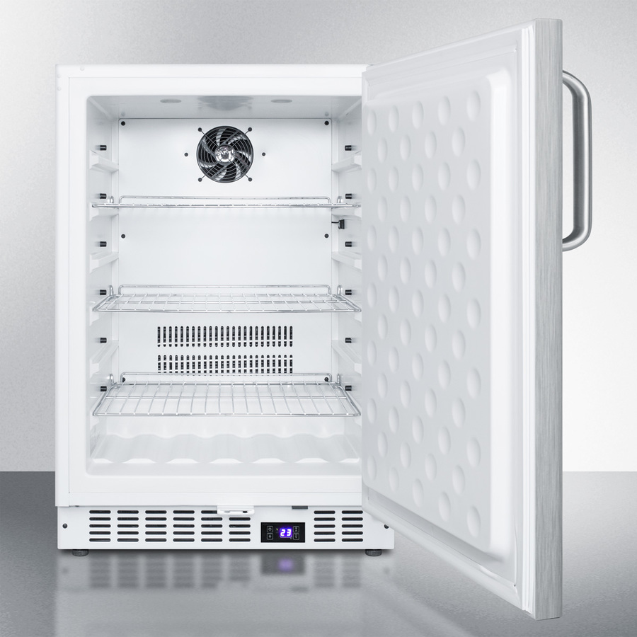 Model: SCFF52WXSSTB | Summit Frost-free built-in undercounter all-freezer for residential or commercial use, with stainless steel door, towel bar handle, and white cabinet