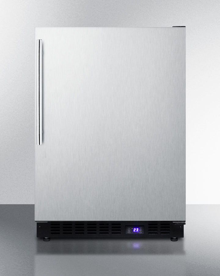 Frost-free built-in undercounter all-freezer for residential use, with icemaker, stainless steel wrapped exterior, and thin handle