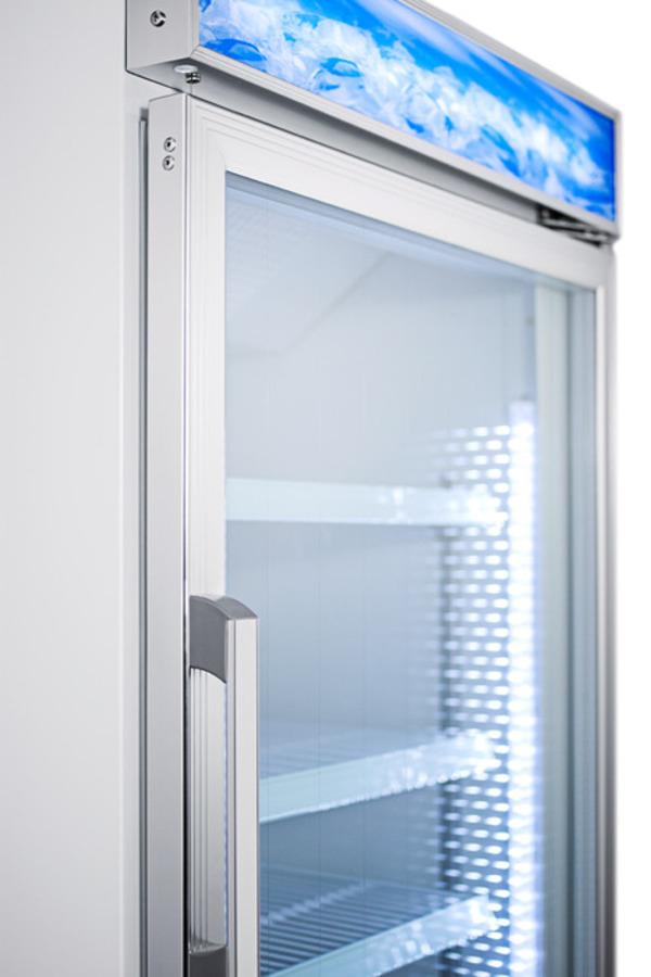 Upright commercial beer froster with digital thermostat, frost-free operation, and self-closing glass door