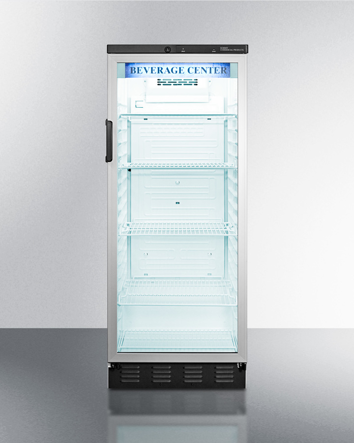Full-sized glass door beverage merchandiser with automatic defrost in slim width and stainless steel cabinet