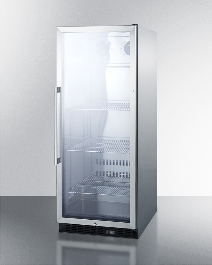 Model: SCR1156CSS | Summit Commercial beverage merchandiser with 11 cu.ft. capacity, SS interior, self-closing door, digital thermostat, and SS wrapped cabinet