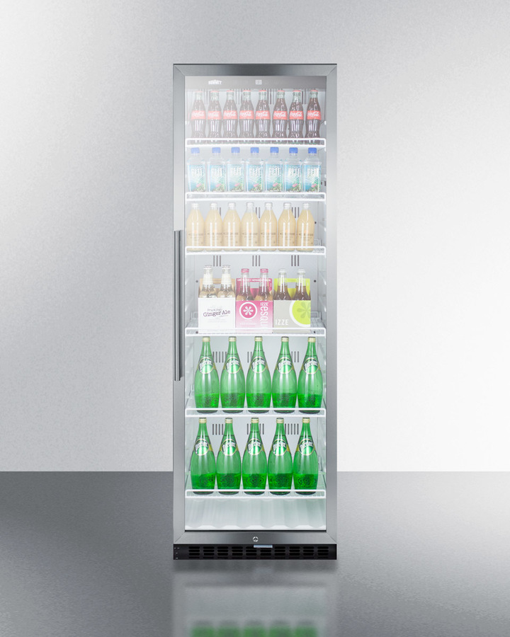 Model: SCR1400WCSS | Summit Commercial beverage merchandiser with 12.6 cu.ft. capacity, digital thermostat, self-closing door, and stainless steel cabinet; replaces SCR1400CSS