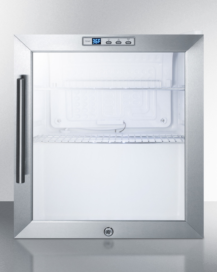 Summit Commercially approved built-in capable glass door refrigerator with digital thermostat and stainless steel wrapped cabinet