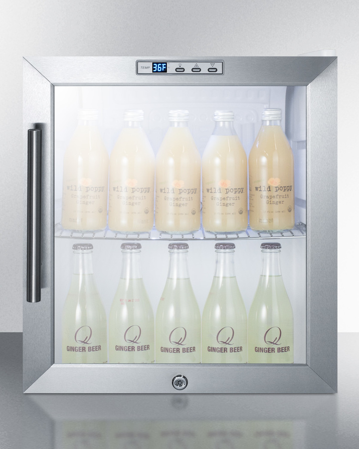 Model: SCR215LBICSS | Summit Commercially approved built-in capable glass door refrigerator with digital thermostat and stainless steel wrapped cabinet