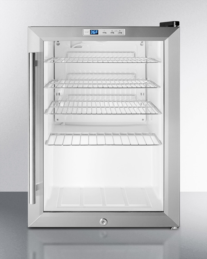 Summit Commercially approved countertop beverage cooler with glass door, stainless steel cabinet, front lock, and digital thermostat; replaces SCR310LCSS