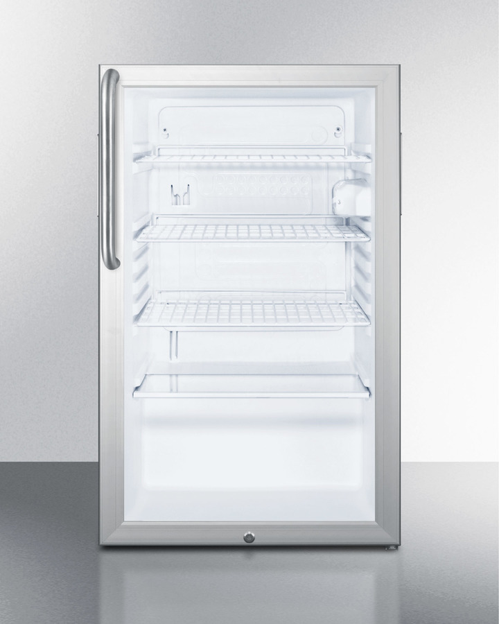 Summit Commercially listed ADA Compliant 20' wide glass door all-refrigerator for built-in use, auto defrost with a lock and stainless steel cabinet