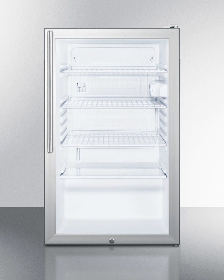 Commercially listed 20' wide glass door all-refrigerator for freestanding use, auto defrost with a lock, white cabinet, and thin handle