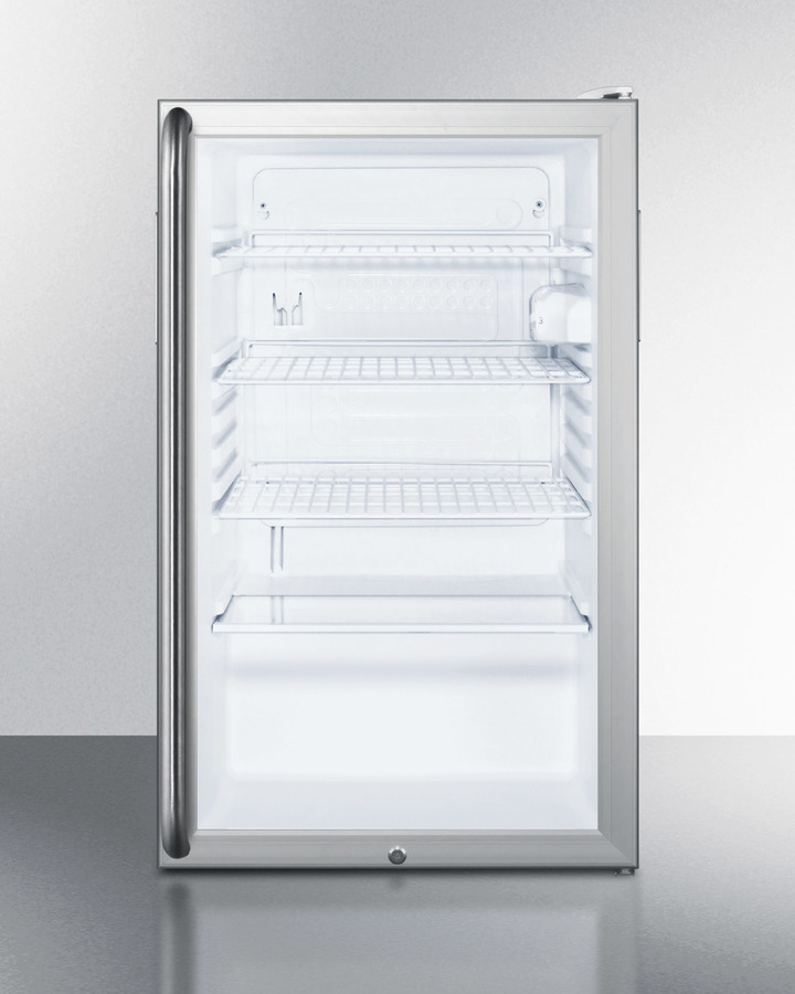 Commercially listed 20' wide glass door all-refrigerator for freestanding use, auto defrost with a lock, full-length handle, and white cabinet