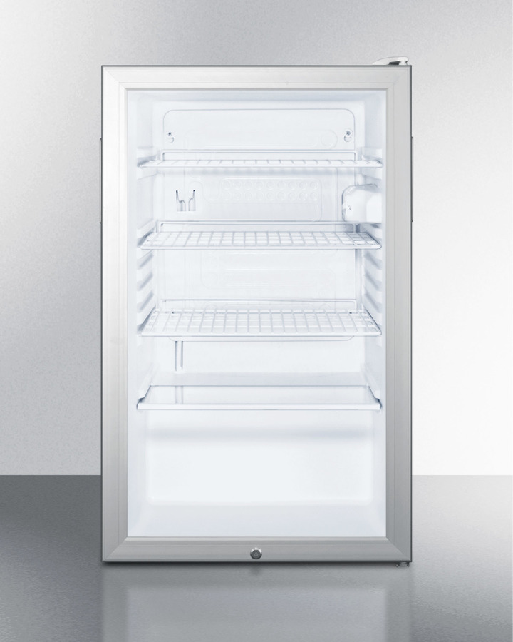 Summit Commercially listed 20' wide glass door all-refrigerator for built-in use, auto defrost with a lock and white cabinet