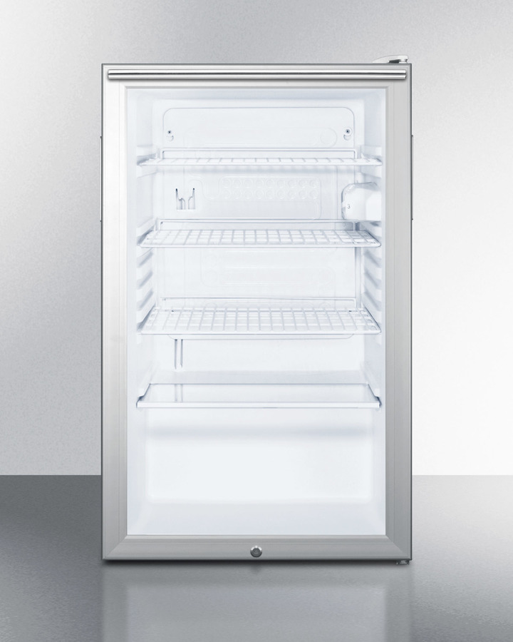 Commercially listed 20' wide glass door all-refrigerator for built-in use, auto defrost with a lock, horizontal handle, and white cabinet