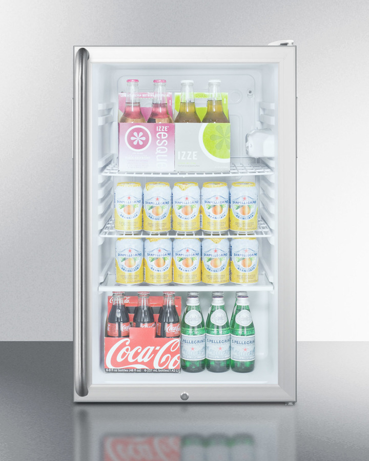 Model: SCR450LBI7SH | Summit Commercially listed 20' wide glass door all-refrigerator for built-in use, auto defrost with a lock, full-length handle,S and white cabinet