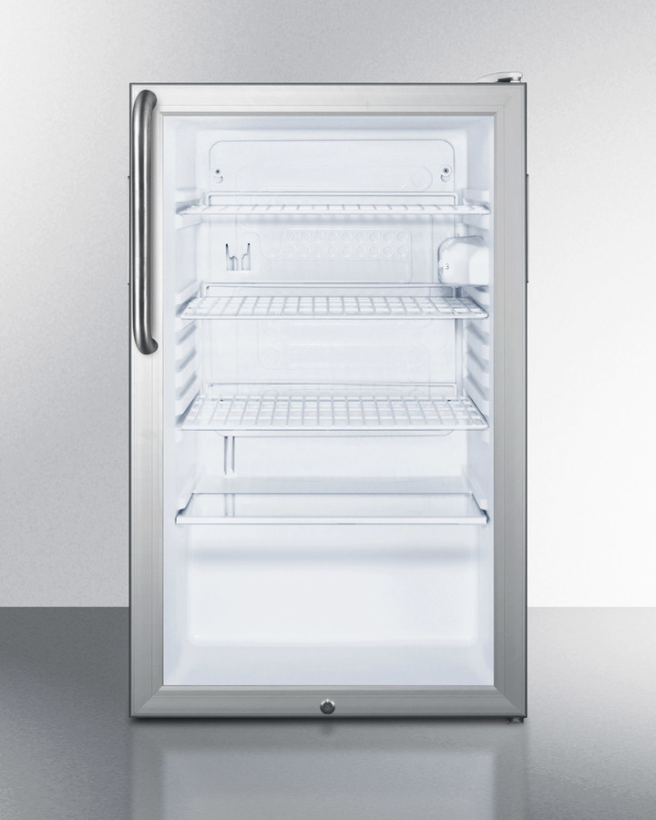 Summit Commercially listed 20' wide glass door all-refrigerator for built-in use, auto defrost with a lock,  towel bar handle, and white cabinet