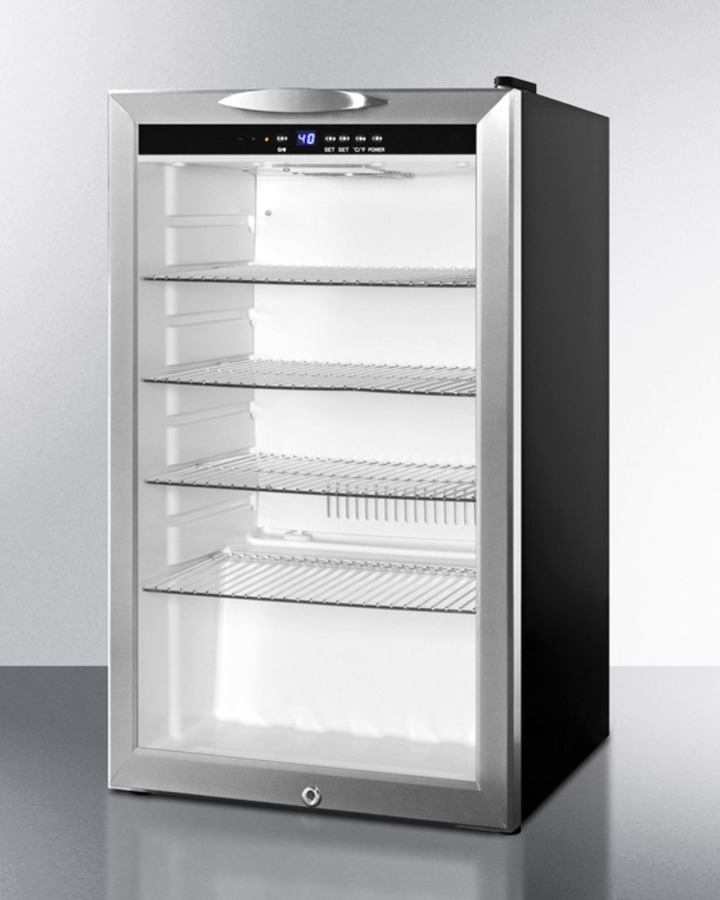 Commercially approved counter height beverage merchandiser with glass door, black cabinet, front lock, and digital thermostat