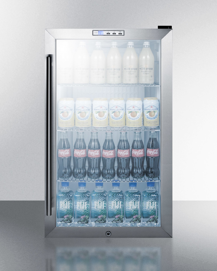 Model: SCR486LBI | Commercial built-in capable beverage merchandiser with glass door, black cabinet, front lock, and digital thermostat