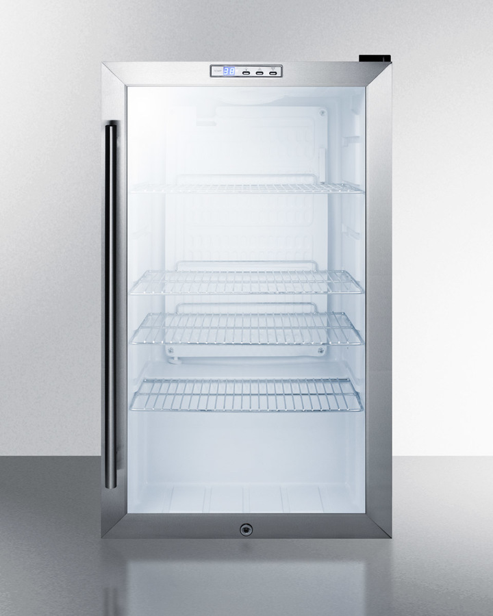 Model: SCR486LCSS | Summit Commercial freestanding beverage merchandiser with glass door, stainless steel cabinet, front lock, and digital thermostat
