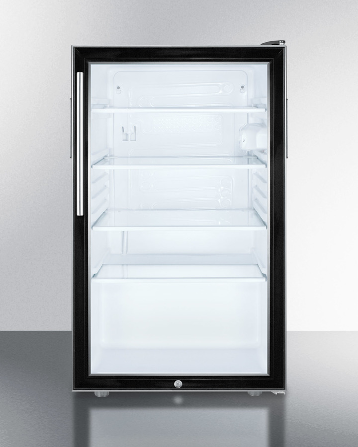 Commercially listed 20' wide glass door all-refrigerator for freestanding use, auto defrost with a lock, thin handle, and black cabinet