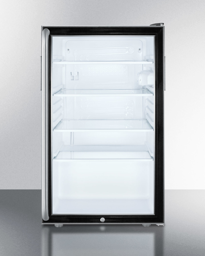 Commercially listed 20' wide glass door all-refrigerator for freestanding use, auto defrost with a lock, long towel bar handle, and black cabinet