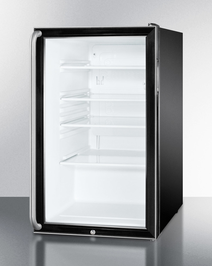Model: SCR500BL7SH   Summit Commercially listed 20' wide glass door all-refrigerator for freestanding use, auto defrost with a lock, long towel bar handle, and black cabinet