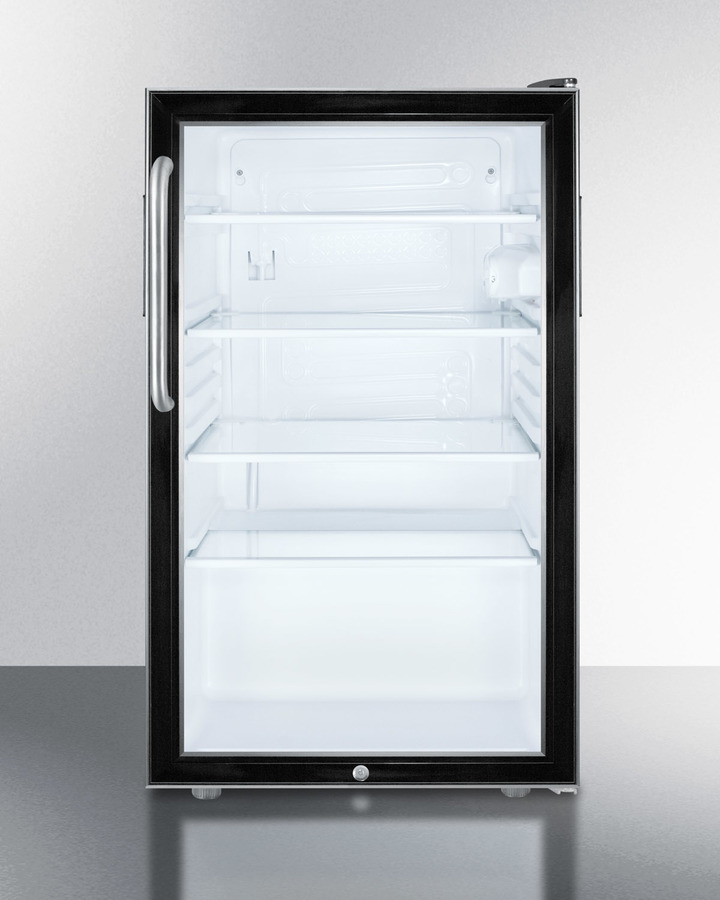 Commercially listed 20' wide glass door all-refrigerator for freestanding use, auto defrost with a lock, towel bar handle, and black cabinet