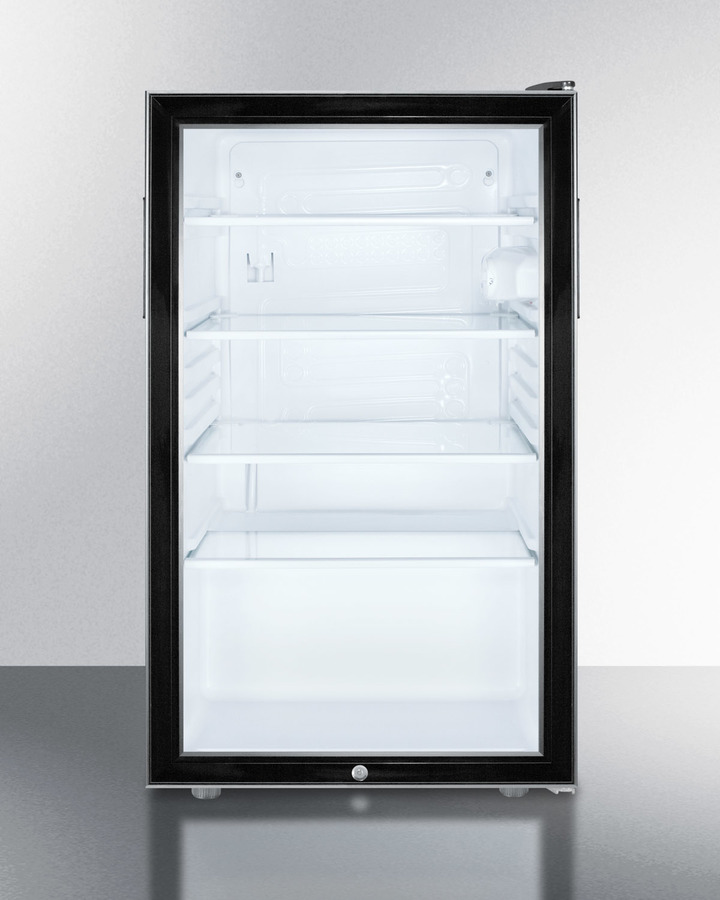 Commercially listed 20' wide glass door all-refrigerator for built-in use, auto defrost with a lock and black cabinet
